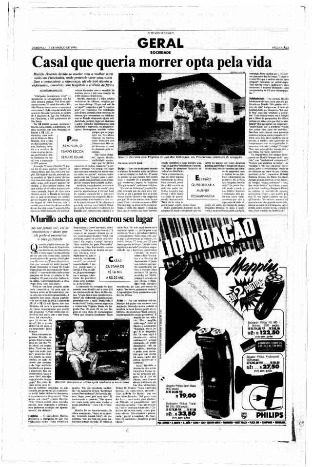 Leia também Queremos Viver.  (Houve uma terceira reportagem, com Murillo e Arminda se instalando no asilo que queriam morar, em Piracicaba.)