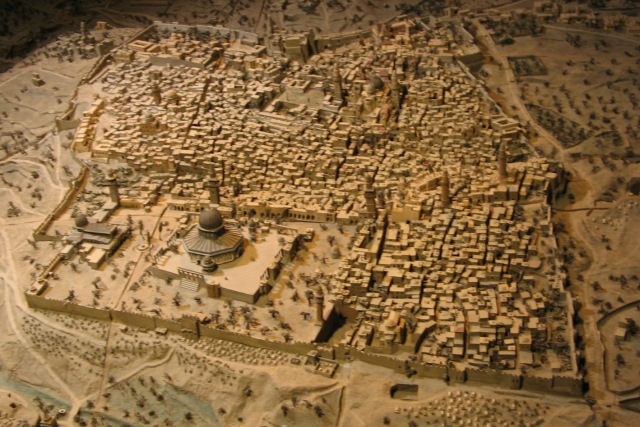 Reconstrução da antiga Jerusalem. (Foto:  commons.wikimedia.org)
