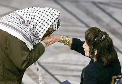 Arafat visita a viúva Rabin